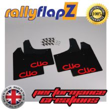 CLIO MK3 (2005-2012) BLACK MUDFLAPS (Logo Red